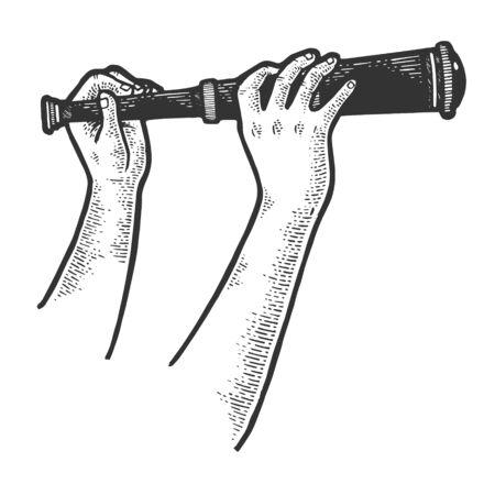 Telescopio monocular catalejo en manos dibujo grabado ilustración vectorial. Imitación de tablero de rascar. Imagen dibujada a mano en blanco y negro.