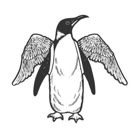 Penguin bird with false artificial wings sketch engraving vector illustration. Scratch board style imitation. Hand drawn image.