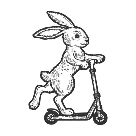 Bunny riding on scooter sketch engraving vector illustration. Scratch board style imitation. Black and white hand drawn image. Векторная Иллюстрация