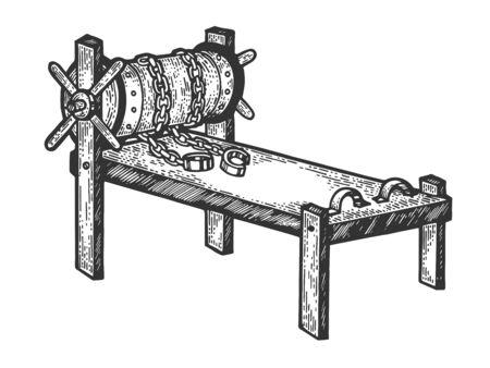 Rack di tortura medievale dispositivo schizzo incisione illustrazione vettoriale. Imitazione di stile scratch board. Immagine disegnata a mano.