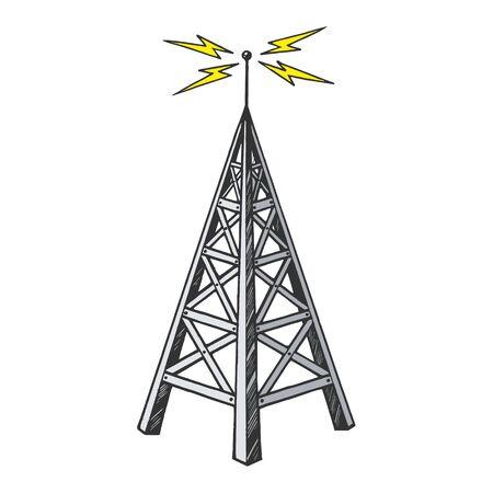 Ancienne tour de radio vintage émetteur de diffusion couleur croquis gravure illustration vectorielle. Imitation de style planche à gratter. Image dessinée à la main en noir et blanc.