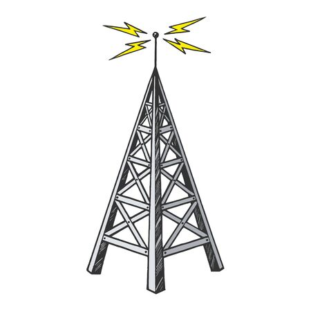 Ilustración de vector de grabado de boceto de color de transmisor de transmisión de torre de radio vintage antiguo. Imitación de tablero de rascar. Imagen dibujada a mano en blanco y negro.