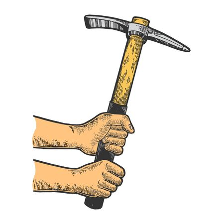Hands with pick pickaxe tool color sketch engraving vector illustration. Scratch board style imitation. Black and white hand drawn image.