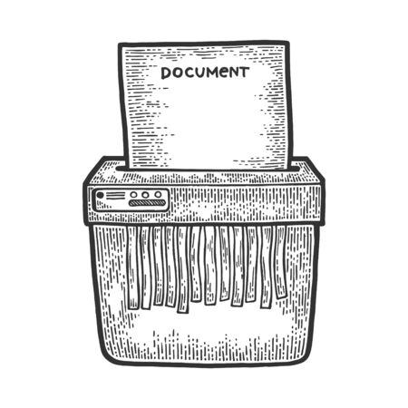 Office shredder cuts paper document sketch engraving vector illustration. Scratch board style imitation. Hand drawn image.