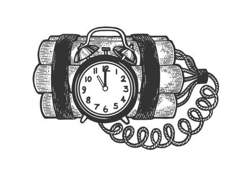 Time bomb explosive dynamite sketch engraving vector illustration. Scratch board style imitation. Black and white hand drawn image. Ilustração