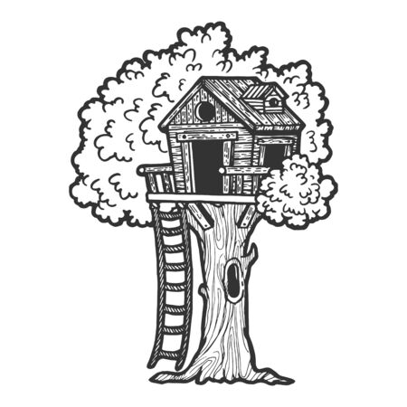 Tree house for children sketch engraving vector illustration. Scratch board style imitation. Black and white hand drawn image.