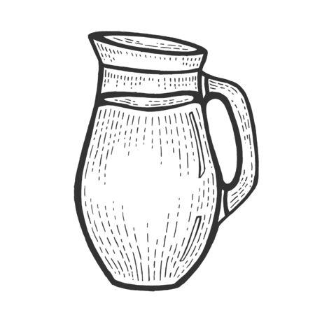 Cruche avec illustration vectorielle de lait croquis gravure. Imitation de style planche à gratter. Image dessinée à la main en noir et blanc. Vecteurs