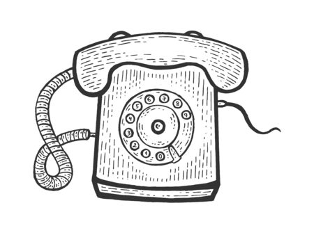 Old rotary dial phone sketch engraving vector illustration. Scratch board style imitation. Black and white hand drawn image.