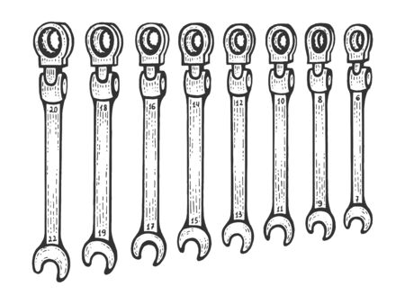 Wrench spanner set sketch engraving vector illustration. Scratch board style imitation. Black and white hand drawn image.