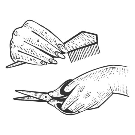 Hairdresser barber hands with scissors and comb tools sketch engraving vector illustration. Scratch board style imitation. Black and white hand drawn image. Çizim