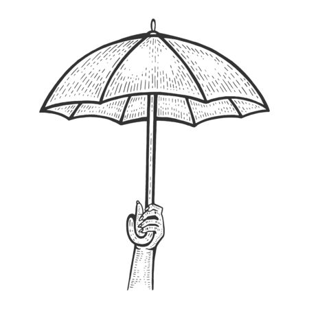 Umbrella in hand sketch engraving vector illustration. Scratch board style imitation. Black and white hand drawn image. Çizim