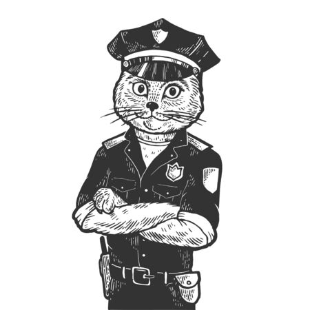 Cat policeman sketch engraving vector illustration. Scratch board style imitation. Black and white hand drawn image.