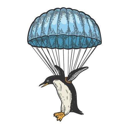 Penguin bird fly with parachute as paratrooper color sketch engraving vector illustration. Scratch board style imitation. Hand drawn image.
