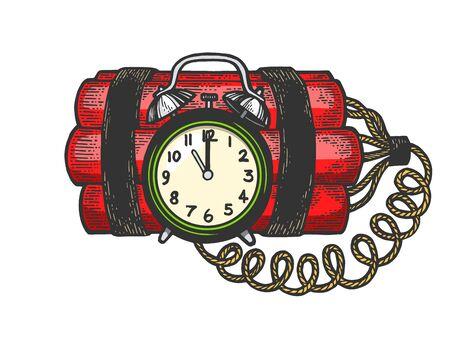 Bomba a orologeria esplosiva dinamite colore schizzo incisione illustrazione vettoriale. Imitazione di stile scratch board. Immagine disegnata a mano in bianco e nero.