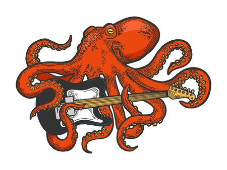 Octopus playing electric guitar color sketch engraving vector illustration. Scratch board style imitation. Black and white hand drawn image.