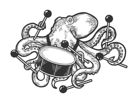 Octopus playing drum sketch engraving vector illustration. Scratch board style imitation. Black and white hand drawn image. Illustration