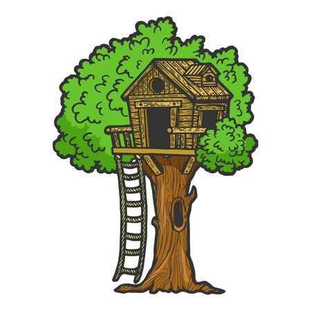 Tree house for children color sketch engraving vector illustration. Scratch board style imitation. Black and white hand drawn image.
