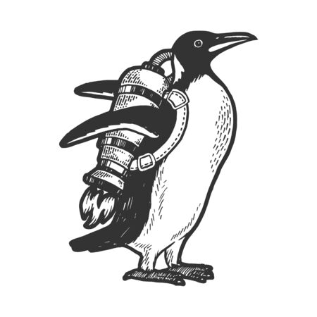 Penguin bird with jetpack sketch engraving vector illustration. Scratch board style imitation. Hand drawn image.