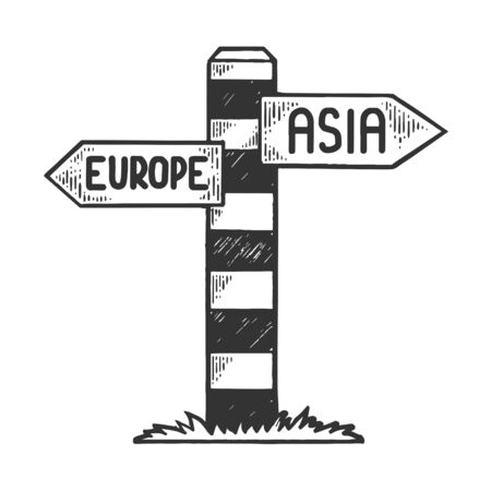 Border pillar between europe and asia sketch engraving vector illustration. Scratch board style imitation. Black and white hand drawn image.