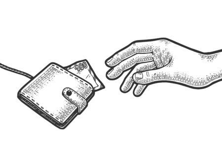 La mano sta cercando di afferrare il portafoglio della borsa della cattura con soldi sull'illustrazione di vettore dell'incisione di schizzo della corda della corda. Imitazione di stile scratch board. Immagine disegnata a mano in bianco e nero. Vettoriali