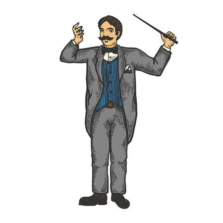 Orchestral conductor color sketch engraving vector illustration. Scratch board style imitation. Black and white hand drawn image.