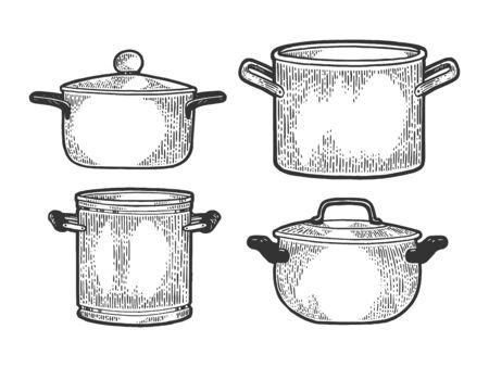 Casserole de casserole ensemble d'ustensiles de cuisine croquis illustration vectorielle de gravure. Imitation de style planche à gratter. Image dessinée à la main en noir et blanc. Vecteurs