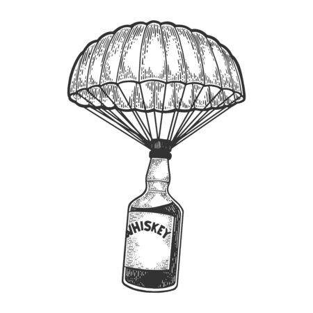 Botella de alcohol de whisky con hielo y vasos camina sobre sus pies boceto grabado ilustración vectorial. Imitación de tablero de rascar. Imagen dibujada a mano en blanco y negro. Ilustración de vector