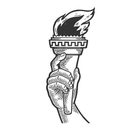 Simbolo della torcia di fuoco delle competizioni sportive in illustrazione vettoriale di schizzo a mano incisione. Imitazione di stile scratch board. Immagine disegnata a mano in bianco e nero.
