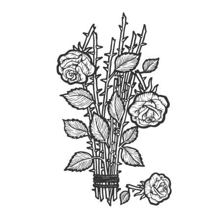 Broken roses bouquet flower sketch engraving vector illustration. Scratch board style imitation. Black and white hand drawn image.