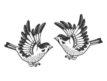 Sparrow birds tattoo sketch engraving vector illustration. Scratch board style imitation. Hand drawn image.