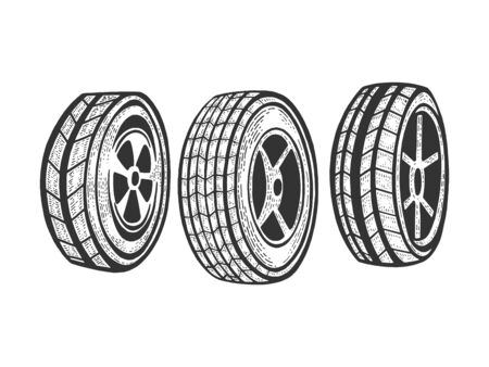 Car Wheels set sketch engraving vector illustration. Scratch board style imitation. Black and white hand drawn image.
