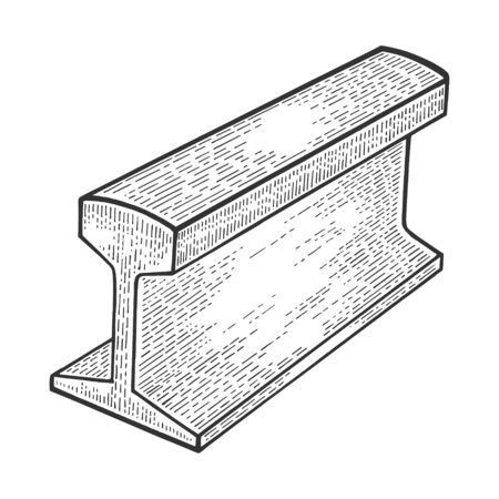 Metal rail part of railway road sketch engraving vector illustration. Scratch board style imitation. Black and white hand drawn image. Banco de Imagens - 128502749