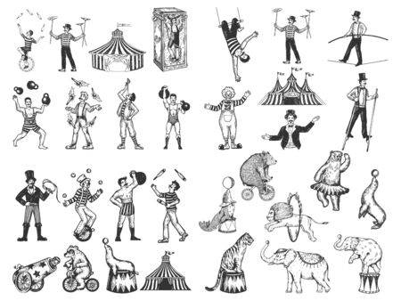 Retro circus performance set sketch style vector illustration. Old hand drawn engraving imitation. Human and animals vintage drawings Illusztráció