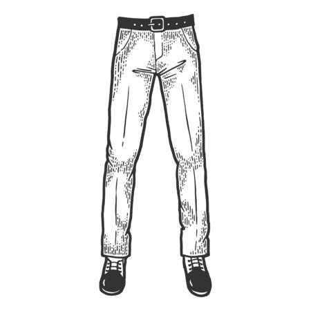 Piernas de hombre de negocios en traje de negocios pantalones y zapatos boceto ilustración de vector de grabado. Imitación de tablero de rascar. Imagen dibujada a mano en blanco y negro.