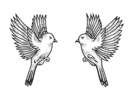 Sparrow birds tattoo sketch engraving vector illustration. Scratch board style imitation. Hand drawn image. 스톡 콘텐츠 - 127927949