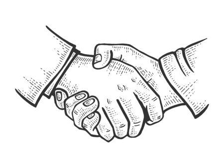 Businessmen handshake sketch engraving vector illustration. Scratch board style imitation. Black and white hand drawn image.