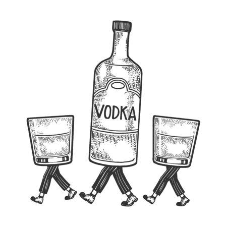 Bouteille d'alcool de vodka avec de la glace et des verres marche sur ses pieds croquis illustration vectorielle de gravure. Imitation de style planche à gratter. Image dessinée à la main en noir et blanc. Vecteurs