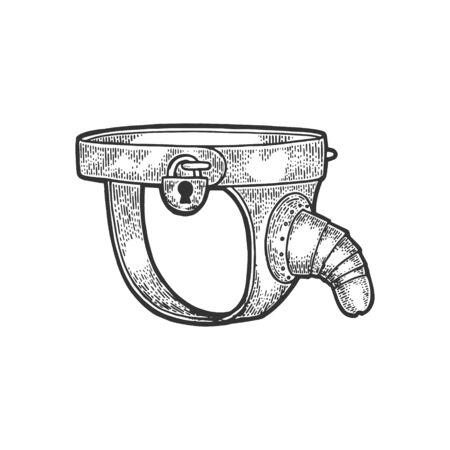 Cintura di castità maschile dispositivo di tortura medievale schizzo incisione illustrazione vettoriale. Imitazione di stile scratch board. Immagine disegnata a mano.