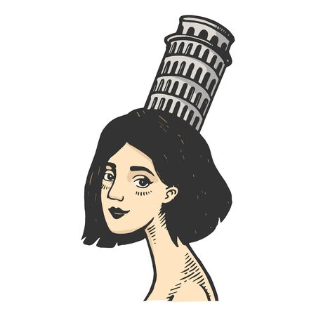 Old fashioned lady girl with Pisa tower on head vintage color sketch engraving vector illustration. Scratch board style imitation. Black and white hand drawn image.