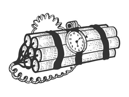 Time bomb explosive dynamite sketch engraving vector illustration. Scratch board style imitation. Black and white hand drawn image. Stock Illustratie
