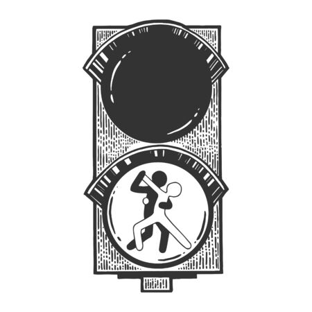 Dancing couple characters on traffic light sketch engraving vector illustration. Scratch board style imitation. Hand drawn image.