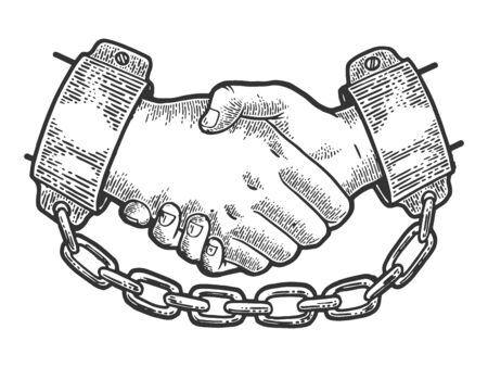 Handshake of prisoners in shackles with chain sketch engraving vector illustration. Scratch board style imitation. Black and white hand drawn image.