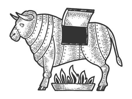 Bronzo di bronzo siciliano bull esecuzione medievale dispositivo di tortura schizzo incisione illustrazione vettoriale. Imitazione di stile scratch board. Immagine disegnata a mano.