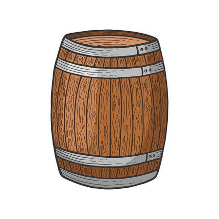 Vin bière tonneau en bois couleur croquis gravure illustration vectorielle. Imitation de style planche à gratter. Image dessinée à la main en noir et blanc.