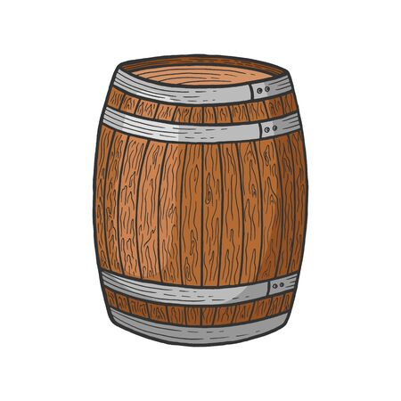 Wine beer wooden barrel color sketch engraving vector illustration. Scratch board style imitation. Black and white hand drawn image. Stock Illustratie