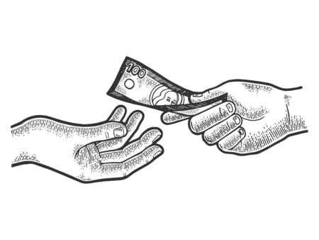 Hand gives dollar money sketch engraving vector illustration. Scratch board style imitation. Black and white hand drawn image.