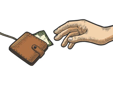 Hand is trying to grab catch purse wallet with money on rope string color sketch engraving vector illustration. Scratch board style imitation. Black and white hand drawn image.