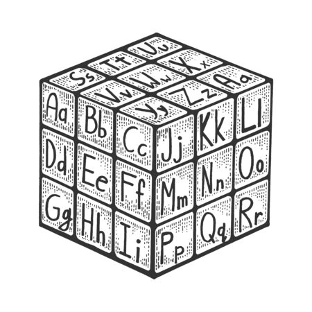 Cube with alphabet for learning letters sketch engraving vector illustration. Scratch board style imitation. Black and white hand drawn image. Stock Illustratie