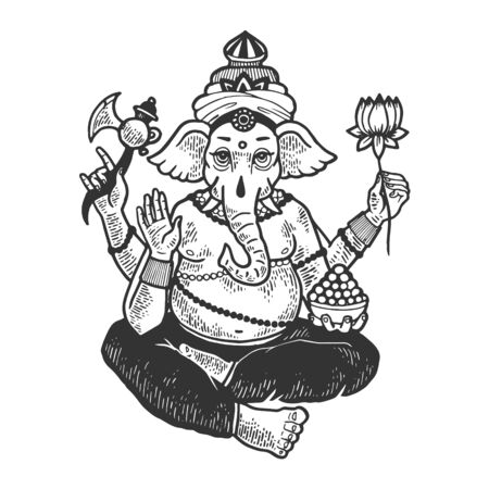 Ganesha elephant indian god sketch engraving vector illustration. Scratch board style imitation. Black and white hand drawn image. Illustration