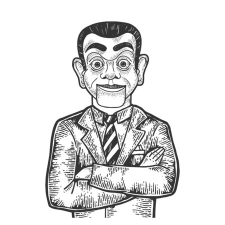 Businessman with puppet head sketch engraving vector illustration. Scratch board style imitation. Black and white hand drawn image.